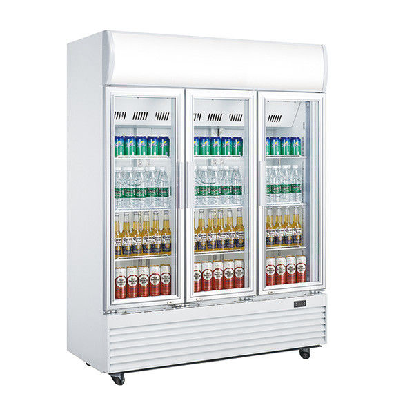 Three Doors Commercial Display Fridges , 1310L Glass Door Beverage Refrigerator,No Frost Fan Cooling Display Fridge